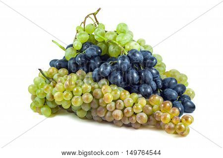 Dark and white grapes Isolated on white background.