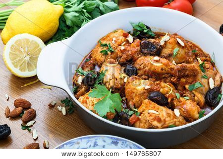 Stewed Chicken With Spices In A Tomato Sauce