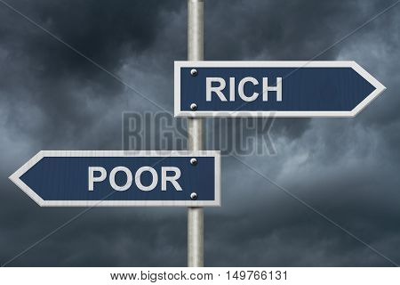 Being Rich Versus Poor Two Blue Road Signs with text Rich and Poor with stormy sky background 3D Illustration