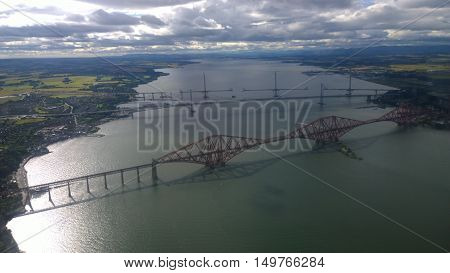 A view over the Forth bridges from the air