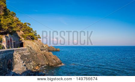 The Ligurian Coast between Varazze and Cogoleto at left the famous road