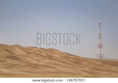 GPS telecom tower in a remote area of a desert