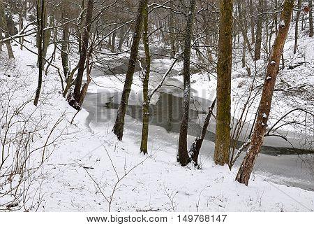 frozen river Rokytna, Moravia, Czech Republic, Europe