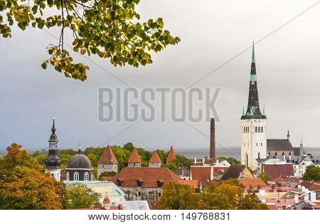 View to the old town of Tallinn Estonia in autumn colors