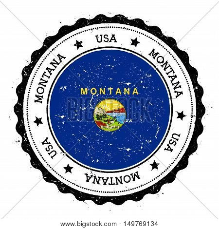 Montana Flag Badge. Grunge Rubber Stamp With Montana Flag. Vintage Travel Stamp With Circular Text,