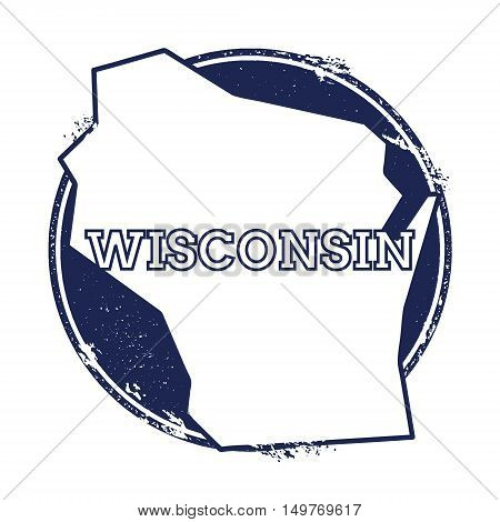 Wisconsin Vector Map. Grunge Rubber Stamp With The Name And Map Of Wisconsin, Vector Illustration. C