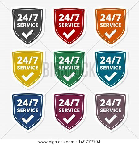 Service and support for customers. 24 hours a day and 7 days a week icon