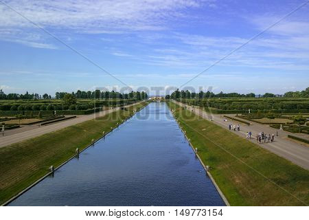 Strelna Russia - July 4 2015: Canal in the park the Konstantinovsky Palace - the residence of the president of Russia. The channel starts from the palace and empties into the Gulf of Finland.