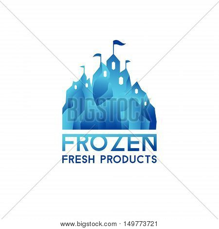 Winter blue castle. Logo for frozen products. Freeze crystal ice abstract vector icon.
