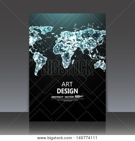 Abstract composition, shiny space earth icon, luminescence night map structure, glimmer a4 brochure title sheet, winking hemispheres chart, fluorescence globe planisphere, EPS10 vector