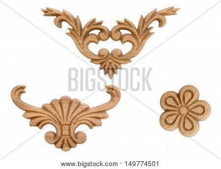Close up decor elements woodcarving on white