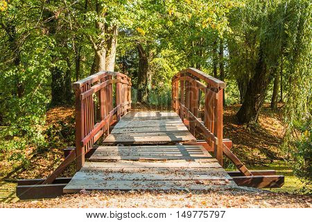 Wooden pedestrian bridge in Vinica arboretum, Varazdin, Croatia, in autumn