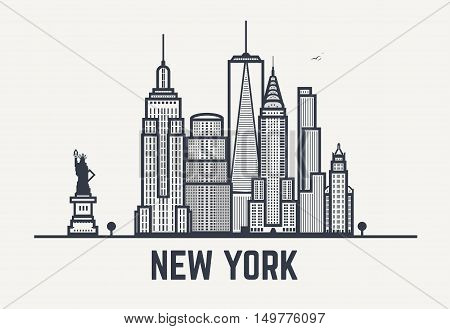New York city architecture skyline silhouette. Line outlines pixel black and white style art.