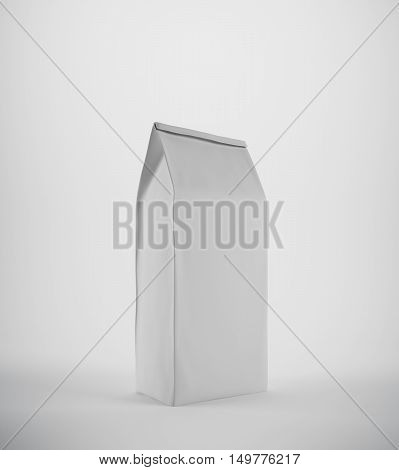 White lunch paper bag against white background. Concept of eating in the office and homemade lunch. 3d rendering. Mock up