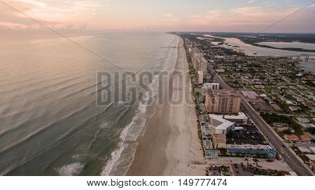 Aerial view of sunrise in Daytona Beach Florida