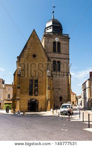 Paray Le Monial France - September 13 2016: The historic tower of St. Nicholas in Paray Le Monial France