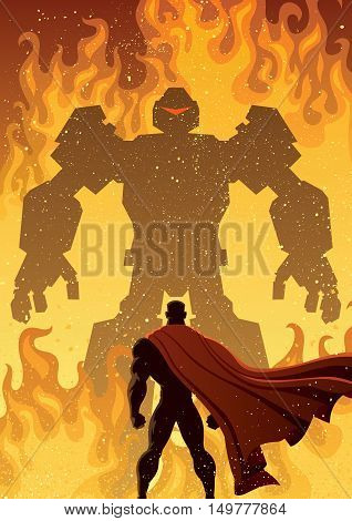Illustration of superhero facing giant evil robot.