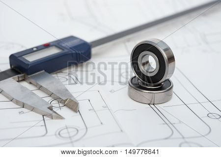 bearing and caliper on a mechanical engineering drawing
