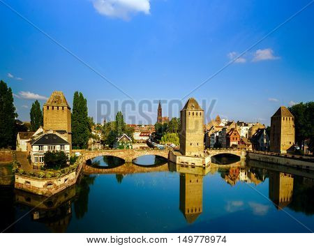 Old Historical Center Of Strasbourg. Fortress Towers And Briges In Little France With Reflection In