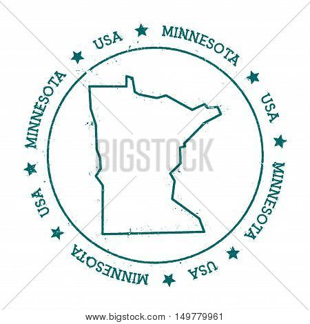 Minnesota Vector Map. Retro Vintage Insignia With Us State Map. Distressed Visa Stamp With Minnesota