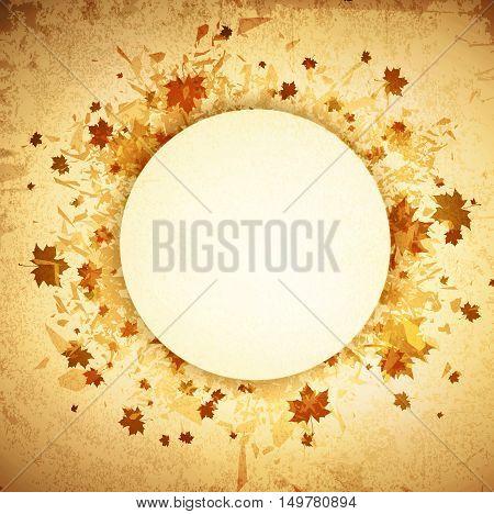 Autumn Round Grunge Vintage Frame With Copyspace