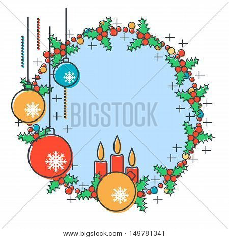 Thin line and flat design style Christmas and New Year vector illustration with empty round frame and Christmas decor