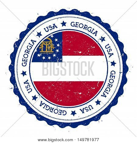Georgia Flag Badge. Grunge Rubber Stamp With Georgia Flag. Vintage Travel Stamp With Circular Text,