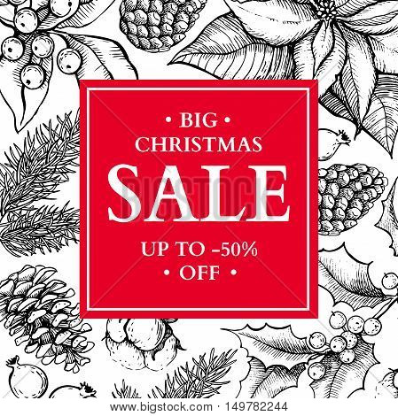 Christmas sale banner. Hand drawn vector holiday illustration with holly mistletoe poinsettia fir pine cone. Xmas vintage engraved wreath. Great for voucher coupon card offer seasonal discount
