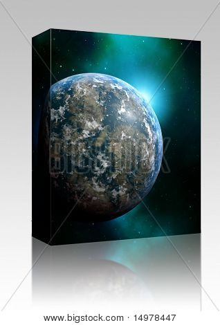 Software package box Illustration of planet earth on colored background