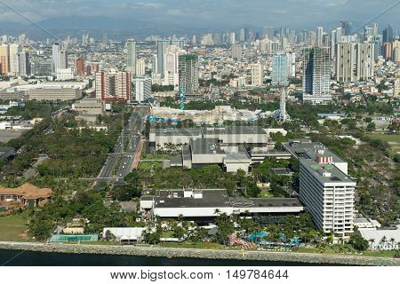 The Philippines-  Aerial view of Manila metro and Makati