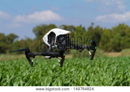 Drone Hovering Low Over Green Plantation