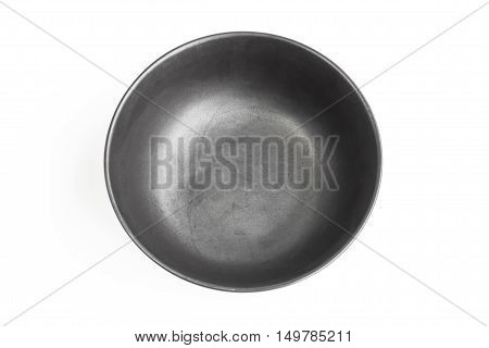 ceramic bowl isolated on the white background / Top view black empty bowl isolated on white background