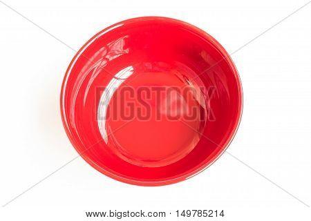 ceramic bowl isolated on the white background / Top view red empty bowl isolated on white background