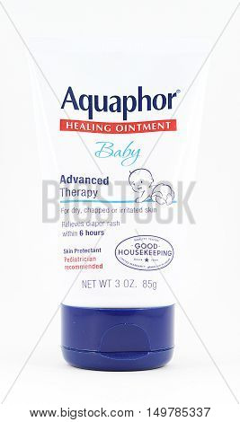 NEW YORK NY - SEPTEMBER 25th 2016: Tube of Aquaphor Healing Ointment - isolated