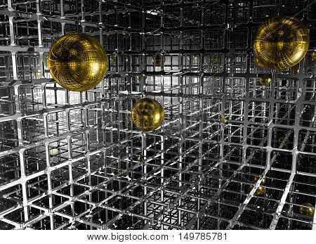 abstract futuristic background with spheres - 3d illustration