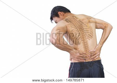 A man problem chronic low back pain and skeleton isolated