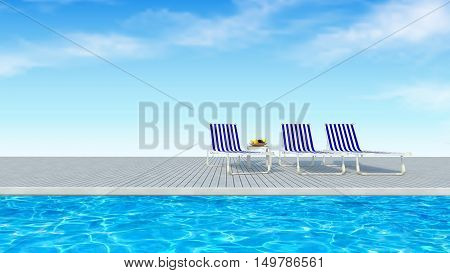 Colorfur stripy beach chairs on swimming pool floor with cloud and blue sky view background-3D rendering