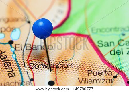 Convencion pinned on a map of Colombia