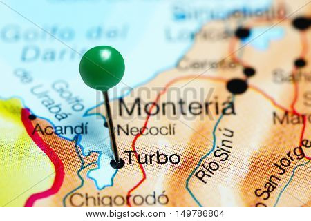 Turbo pinned on a map of Colombia
