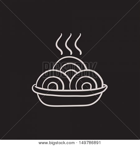 Hot meal in plate vector sketch icon isolated on background. Hand drawn Hot meal in plate icon. Hot meal in plate sketch icon for infographic, website or app.