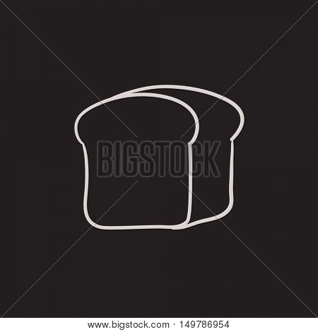 Half of bread vector sketch icon isolated on background. Hand drawn Half of bread icon. Half of bread sketch icon for infographic, website or app.