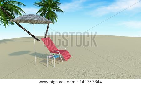 Red beach chair with umbrella and tropical palm tree.Summer vacation and blue sky nature view background-3d rendering