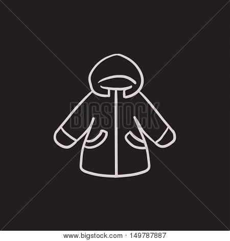 Winter jacket vector sketch icon isolated on background. Hand drawn Winter jacket icon. Winter jacket sketch icon for infographic, website or app.