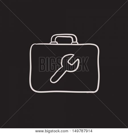 Toolbox vector sketch icon isolated on background. Hand drawn Toolbox icon. Toolbox sketch icon for infographic, website or app.