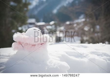 Close up of happy snowman with village background
