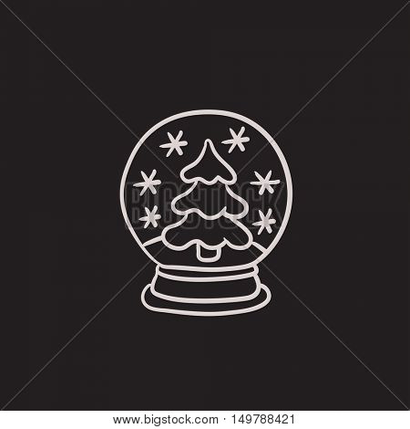 Snow globe with christmas tree vector sketch icon isolated on background. Hand drawn Snow globe with christmas tree icon. Snow globe with christmas tree sketch icon for infographic, website or app.
