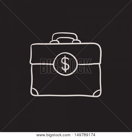Suitcase with dollar symbol vector sketch icon isolated on background. Hand drawn Suitcase with dollar symbol icon. Suitcase with dollar symbol sketch icon for infographic, website or app.