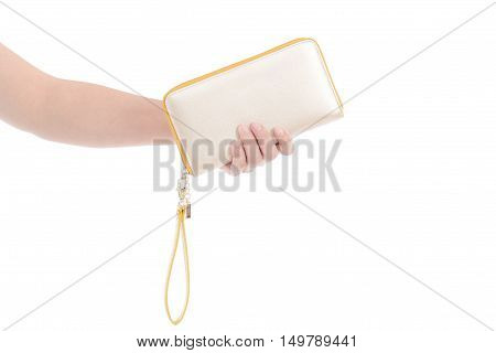woman holding wallet on a white background isolated