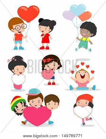 kids with heart on white background ,Happy Valentine's day, Cute stick figure child holding Valentine's Day hearts.