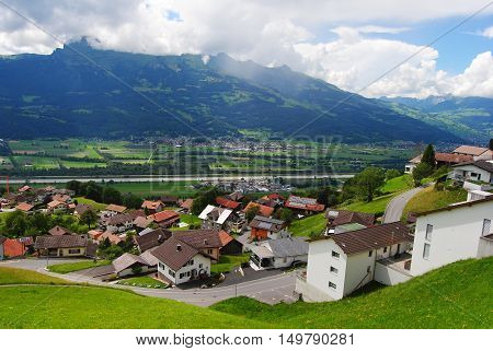 View over Triesenberg village in Principality Liechtenstein.